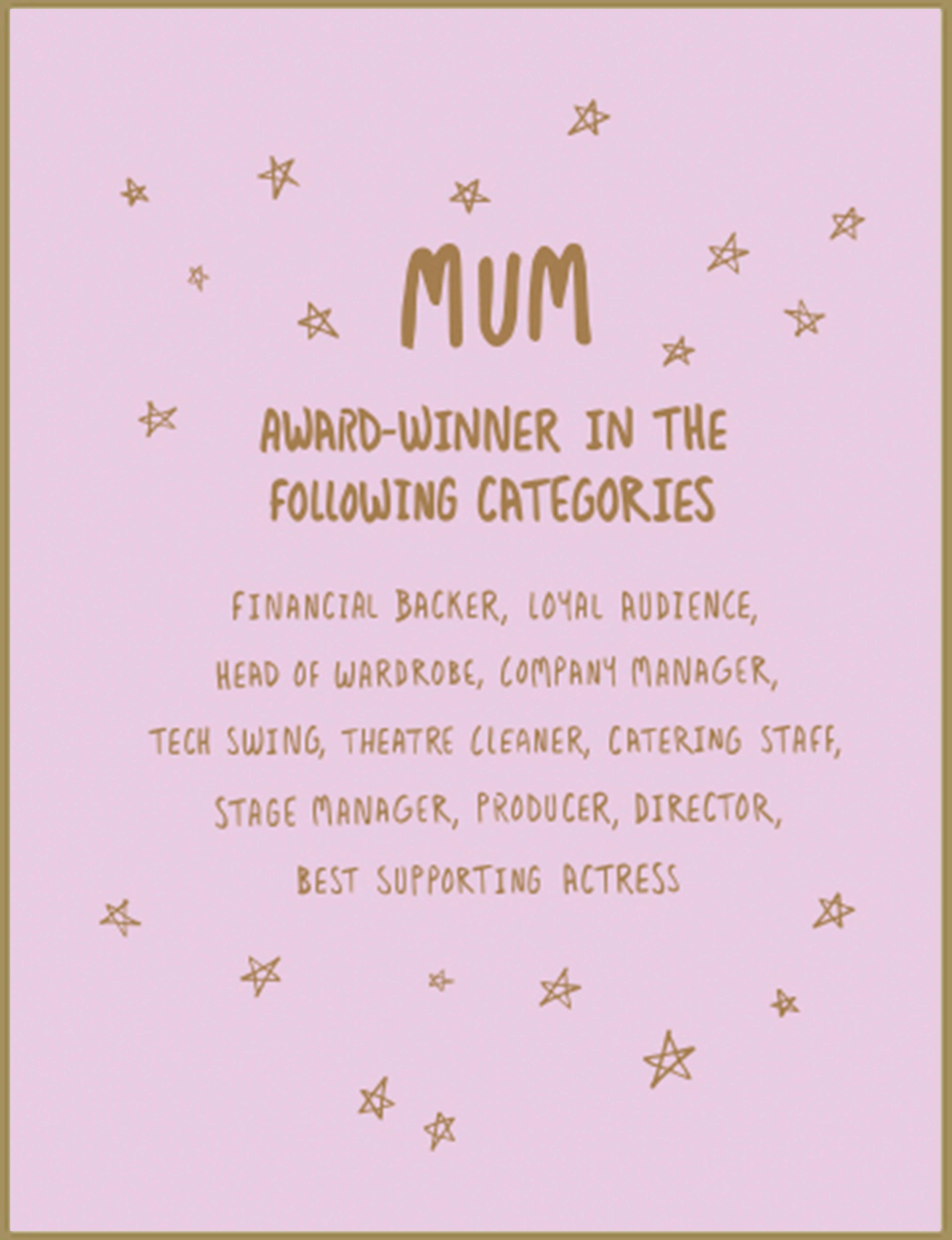 Mum Award card